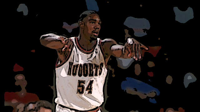 1993: Forward Rodney Rogers of the Denver Nuggets passes the ball during a game at the McNichols Sports Arena in Denver, Colorado. Mandatory Credit: Tim DeFrisco /Allsport Mandatory Credit: Tim DeFrisco /Allsport