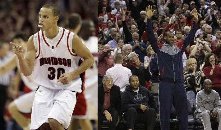 Stephen Curry and LeBron James in Davidson