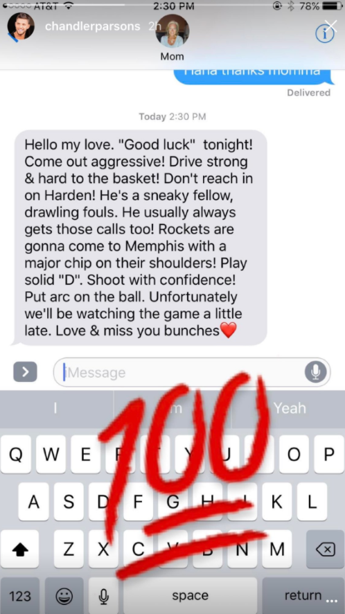 Chandler Parsons Recieved A Funny Pre Game Text From His Mom