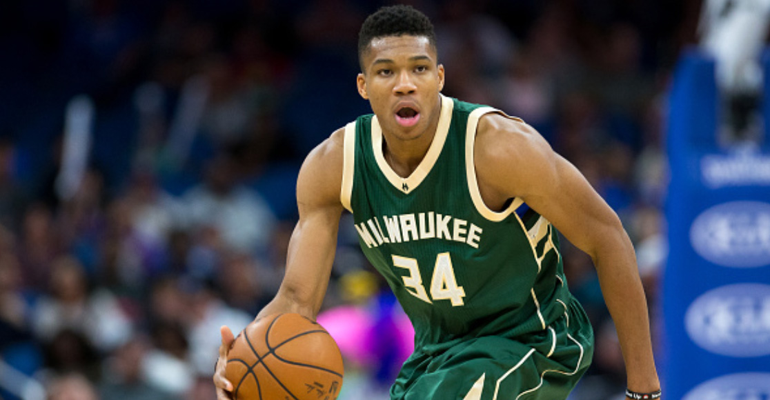Giannis Antetokounmpo Blocks Shot With His Elbow